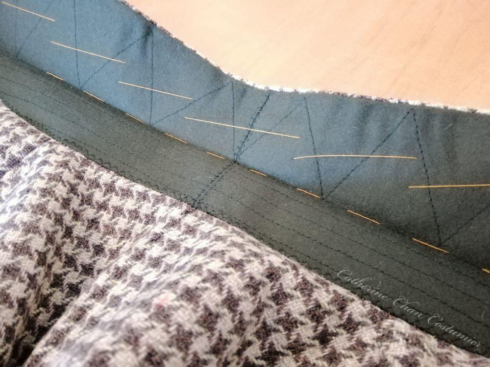 Pad stitching the under collar