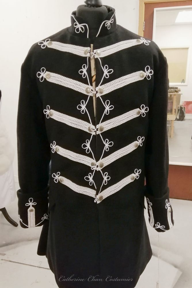 Wool frock coat with braided details